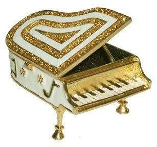 Piano Jewelry Trinket Box Swarovski Crystals #1133