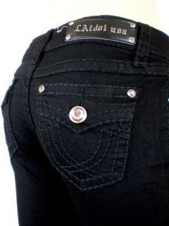 LA Idol Black Jeans Black Stitch Bootcut Crystal Button Flap Pockets