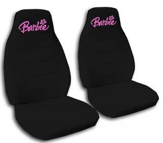 FRONT CAR SEAT COVERS WITH BLACK/HOT PINK BARBIE. NEW QUALITY WASHABLE
