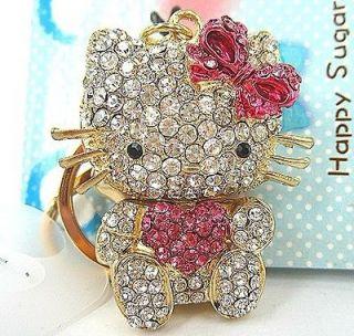 Hello Kitty Fashion Cat Rhinestone Crystal Charm Key Bag Chain Gift