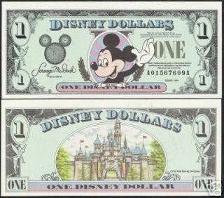 DISNEY DOLLAR UNITED STATE 1999 MICKEY COM.UNC CURRENCY