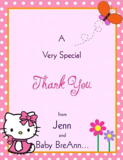 24 Hello Kitty Baby Shower Thank You Cards   Personalized