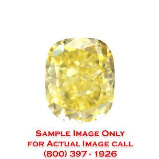 08 Carat Cushion Loose Diamond GIA Fancy Yellow/I1 + Free Ring