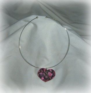 pink real tree camo heart pendant choker necklace prom wedding redneck