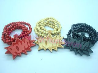 Good Quality POW Pendants Wood Rosary Bead Necklaces 36 1pcs