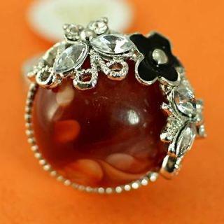 r8030 Sz 10 Butterfly Flower Rhinestone Diamante Red Gem Fashion