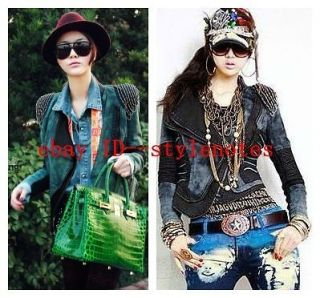Womens Beads Power Studded Shoulder Denim Contrast PU Leather Coat