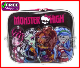 MONSTER HIGH BLACK LUNCH BOX GIRLS INSULATED SCHOOL BAG TOTE
