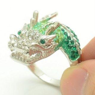Swarovski Crystals Silver Tone Cute Green Dragon Cocktail Ring Size 8#