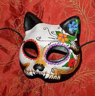 Pushing Up Daisies Dia de los Muertos Kitty Cat Mask Day of the Dead