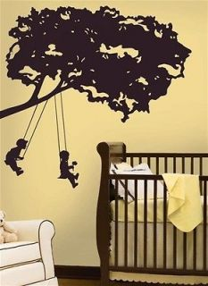 KIDS IN TREE SWING WALL STICKERS Nursery Mural Decals