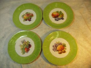 SET OF 4 VINTAGE VICTORIA CHINA CZECHOSLOVAKIA FRUIT PLATES w/ GREEN