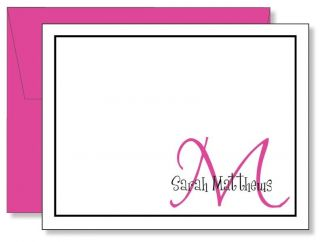 12 Custom Personalized Hot Pink Monogram Thank You Note Cards   Any