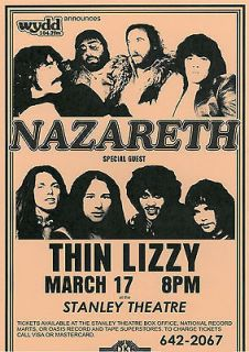 Thin Lizzy & Nazareth vintage repro concert poster USA