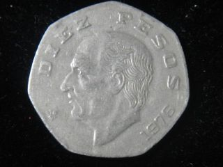 ESTADOS UNIDOS DE MEXICO VINTAGE DIEZ 10 PESOS COIN FROM 1976