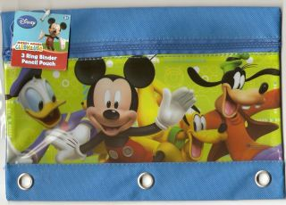 Mickey Mouse Clubhouse Blue 3 Ring Binder Pencil Pouch