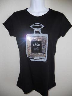 Womens Black Love Potion Perfume Bottle T Shirt New