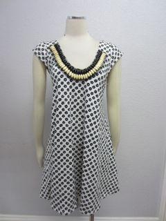 NWOT Free People Anthropologie $98 Daisy White Black Beaded neck Dress