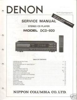 Original Denon Service Manual DCD 920 CD Player