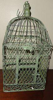 18 Tall Shabby Metal Antiqued Green Decor Bird Cage w/ Perch