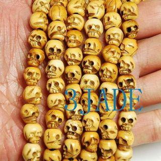 Carved Skull Mantra Meditation Buddhist Prayer Beads Mala / Necklace