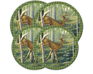 Buck Hunting Lodge Woods Round Stove Eye Range Cook Top Burner Covers
