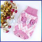 Pink Knit Turtleneck Pet Dog Sweater Clothes Argyle S