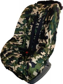 Toddler Kids Minky Car Seat Cover   Camouflage Design / Black Trim