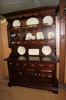 ETHAN ALLEN, Vintage 1970s, Antique Pine China Cabinet Hutch