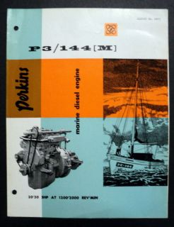 Perkins c 1962 P3/144M Marine Diesel Engines Boat Brochure