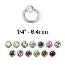 Captive Bead Ring Nose Ring Septum Hoop 1/4 2mm CZ 18G