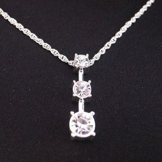18k white gold gp diamond solitaire past present future pendant chain