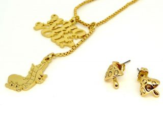 Disney Couture Alice Caterpillar Necklace Earrings Set