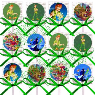 Disney Peter Pan Lollipops Candy Suckers with Green Bows Party Favors