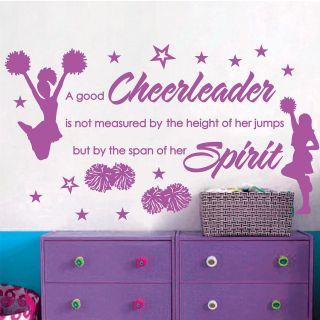 CHEER CHEERLEADERS GIRLS *** Stars Vinyl Wall Decor Mural Quote
