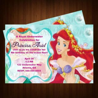 LITTLE MERMAID ARIEL BIRTHDAY PARTY INVITATION CUSTOM & PERSONALIZED