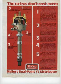 1975 Mallory Dual Point YL Distributor Mallory Ignition Ad ~