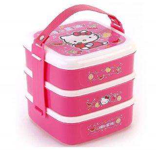 Luckydeliver Picnic outdoor hello kitty 3 layers lunchbox bento