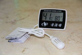 DIGITAL EGG INCUBATOR THERMOMETER HYGROMETER WITH PROBE ★