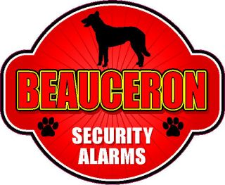 BEAUCERON SECURITY ALARMS 5 X 6 DIE CUT PROTECTION ALARM DOG STICKER