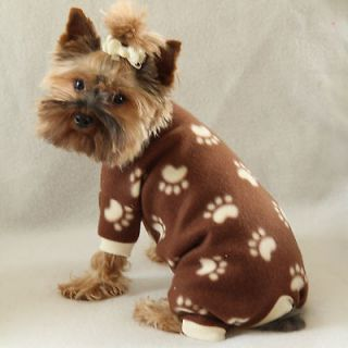 Paw Print Cozy Fleece Dog Pajamas clothes PJS pet apparel Small