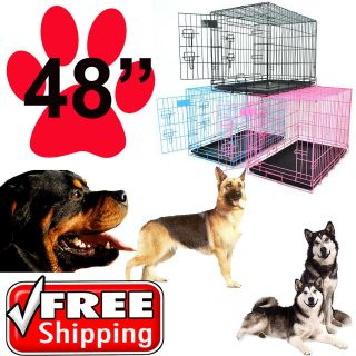 48 Portable Folding Dog Pet Crate Cage Kennel 3 Door w/ Divider