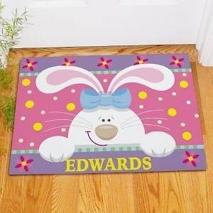 Easter Bunny Doormat Family Name Welcome Easter Doormat Door Mat