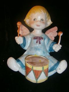 Vintage Holiday Angel Cherub with Drum Plaque Wall Hanging   Italy