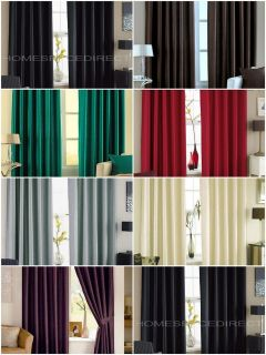 Faux Silk Curtains   Eyelet / Ring Headings with Matching Tiebacks