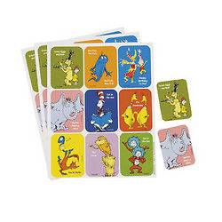 DR SEUSS Cat In The Hat Horton One Fish Two Fish Party Favors Sticker