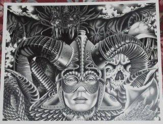 DRAGON PATTERN TATTOO PRISON ART FLASH LOWRIDER FERMIN 14 W x 11 L