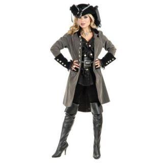 Coat Two Tone Gun Metal Grey Black Dress Up Halloween Adult Costume