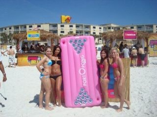 Pink Inflatable Floating Beer Pong Table   portOpong