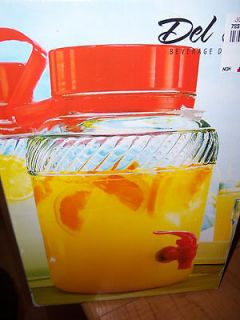 DEL SOL COLD BEVERAGE GLASS DISPENSER WITH LID   ORANGE